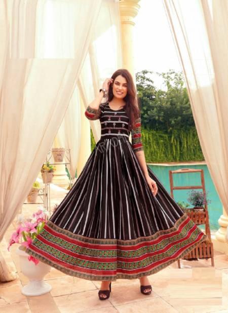 Aradhna Fashion Stripy 1 Heavy Cotton Anarkali Ethnic Wear Stylish Kurti Collection