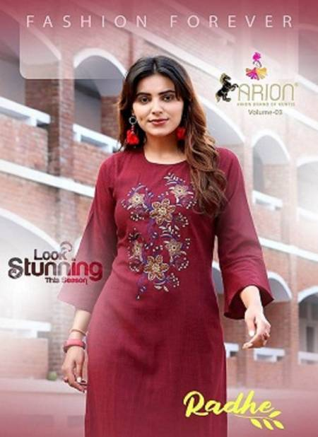 Arion Radhey 3 Latest Fancy Designer Casual Wear Stylish Kurti With Bottom Collection