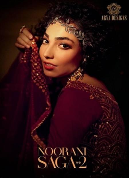 Arya Noorani Saga 2 Wedding Designer Heavy Work Georgette Top With Dull Santoon Inner Net Bottom With Four Sided Bordered Dupatta Collection