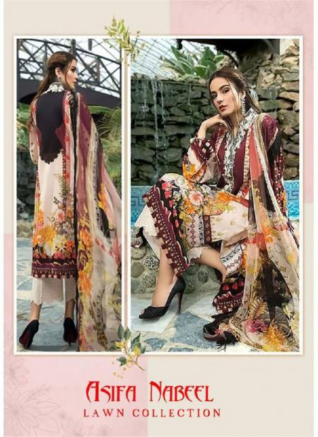 Asifa Nabeel Latest Designer Karachi Pure Lawn Cotton Dress Material Collection With Pure Cotton Mal Mal Dupatta