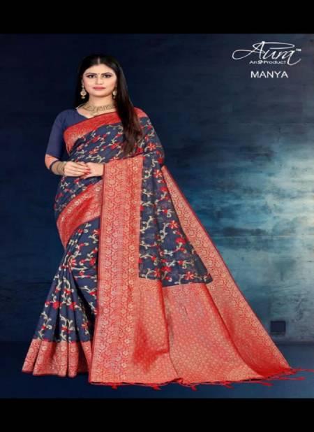 Aura Manya Latest Designer Festive Wear Soft Cotton Silk Casual Wear Saree Collection