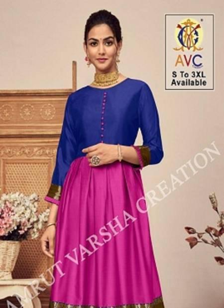 Avc Antra 1 Lichi Latest Fancy Festive Wear Silk Jacquard Designer Anarkali Kurtis Collection