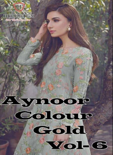 Aynoor Colour Gold 6 Latest Wedding Wear Georgette Heavy Top And Heavy Satin Bottom With Dupatta Designer Dress Material
