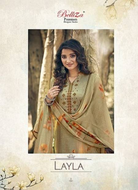 Belliza Layla Festive Wear Heavy Jam Cotton Satin Digital Print with Beautiful Fancy Embroidery work  Dress Materials Collection