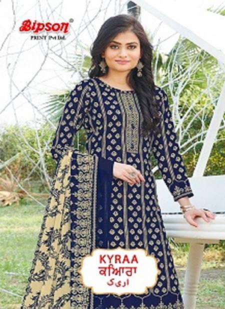 Bipson Kyraa Blue Cotton Slub Latest Fancy Regular Wear Dress Material Collection