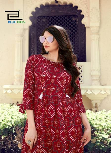 Blue Hills Angel 1 Latest Fancy Designer Ethnic Wear Rayon Printed Kurti Collection