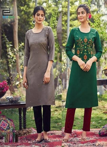 Blue Hills Instagram Latest Fancy Designer Casual Wear Slub Cotton Straight Embroidery Kurtis Collection