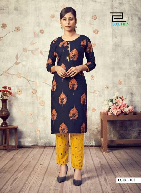 Blue Hills Jasmine 1 Latest Fancy Casual Wear Designers Rayon Printed Kurtis With Bottom Collection