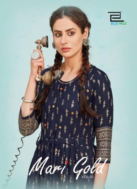 Blue Hills Mari Gold Flair Latest Fancy Designer Ethnic Wear Stylish Kurtis Collection