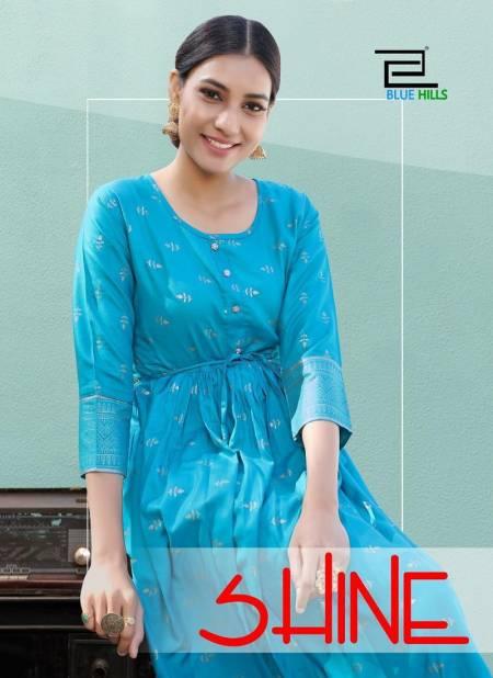 Blue Hills Shine Latest Fancy Designer Ethnic Wear Rayon Gold Print Kurtis Collection