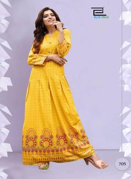 Blue Hills Walkway 7 Fancy Designer Ethnic Wear Printed Rayon Long Kurti Collection