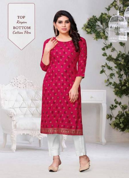Decent 1 Casual Wear Designer Printed Traditional Festival Wear Rayon Kurti With Cotton Flex Bottom Collection