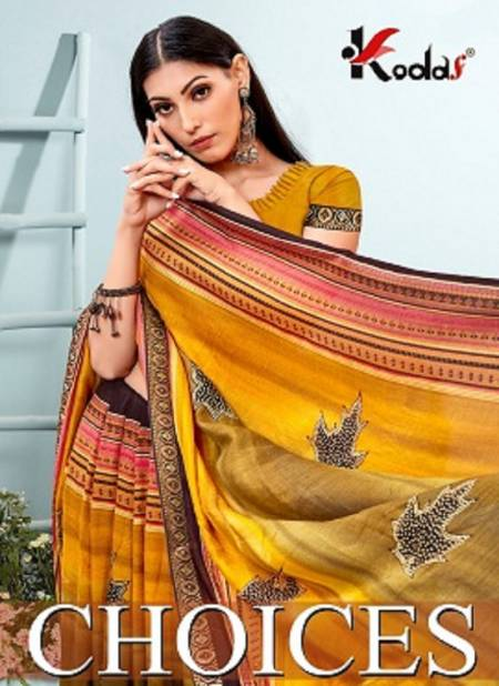 Choices Latest Fancy Casual Regular Wear Vichitra Silk Printed Sarees Collection