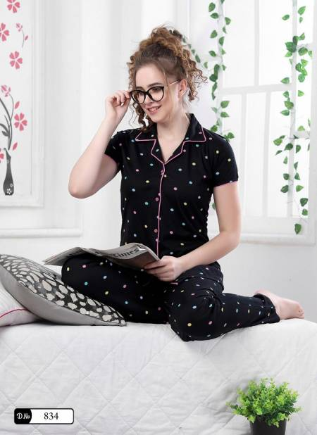 Colour 9 Ultra Soft Hosiery Cotton Night Wear Fully Readymade With Half Sleeves n Buttons Collar Style Comfortable Collection