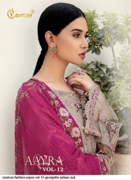 Cosmos Aayra 12 Exclusive Heavy Faux Georgette Embroidered Pakistani Suits Collection