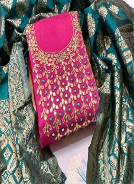 Designer Neck Work 101 Latest Fancy Casual Wear Modal Banarasi Jacquard Dupatta Dress Material