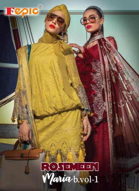 Fepic Rosemeen Maria B 1 Pure Cotton With Embroidery Patch Work Top With Chiffon Printed Dupatta Pakistani Salwar Suits Collection