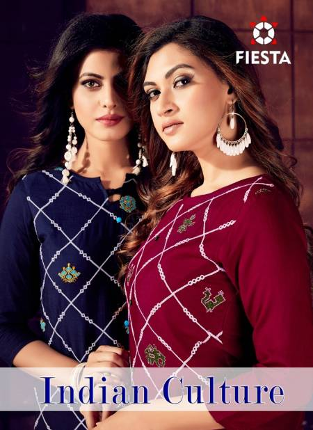 FIESTA INDIAN CULTURE LATEST REYON SLUB EMBROIDERY WORK PARTY WEAR KURTI COLLECTION
