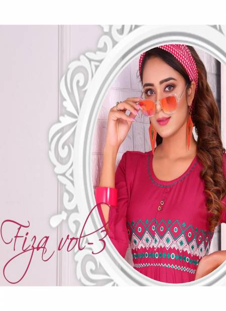 Fiza Vol 3 Latest Designer Party Wear Royal Heavy Rayon Kurtis Collection