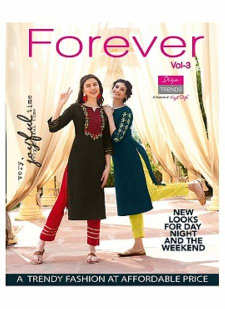 Forever 3 Latest Fancy Designer Ethnic Wear Classy Look Stylish Kurti With Bottom Collection