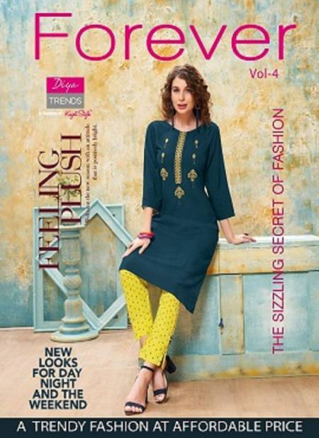 Forever 4 Latest Fancy Designer Ethnic Wear Rayon With fancy Embroidery Kurti With Bottom Collection