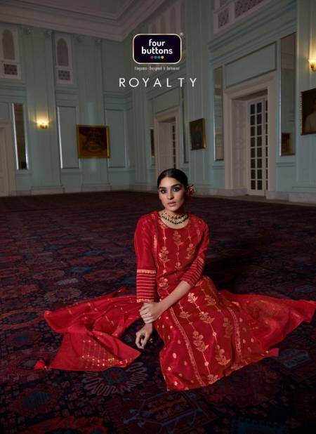 FOUR BUTTONS ROYALTY Latest Fancy Designer Jacquard Festive Wear Readymade Salwar Suit Collection