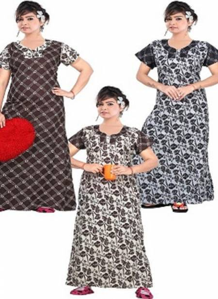 Ft 13063 Latest Collection Of Printed Pure Cotton Night Wear Gown