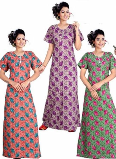 Ft 13131 Latest Collection Of Printed Pure Cotton Night Wear Gown Nightsuits Collection