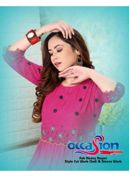 Ft Occasion Latest Fancy Designer Ethnic Wear Rayon Embroidered  Kurti Collection