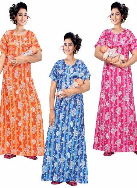 Ft Super Mom 13075 Latest Pure Cotton Printed Nighty Collection