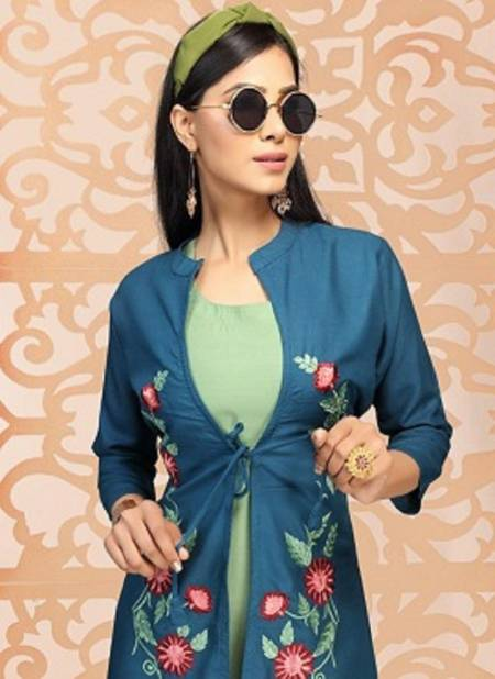 Ft Tea Latest Fancy Designer Casual Wear Rayon Embroidery Work Designer Kurtis Collection