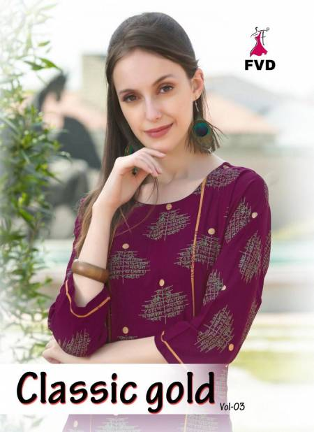 FVD Gold Vol-3 Latest Designer Fancy Heavy Ethnic Wear Poli Rayon Foil Print Kurtis With Bottom Collection