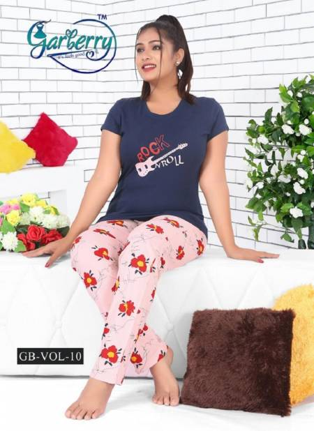 Garberry 10 Pure Cotton Soft Latest Exclusive Comfortable Hosiery With Super Fine Stitching Night Suits Collection