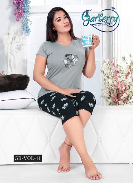 Garberry 11 Latest Exclusive Comfortable Hosiery With Super Fine Stitching Cotton Short Printed Nightsuits Collection