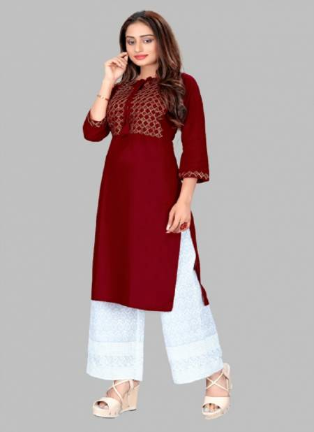 Glam Kurti 45Latest Fancy Designer Ethnic Wear Heavy Rayon With Sequence Embroidery Work Exclusive Kurti With Bottom Collection