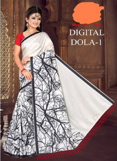 Green Chilli Digital Dola Latest Designer Party Wear Global Linen Juth Digital Printed Saree Collection