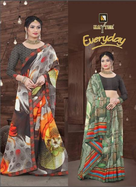 Haytee Everyday Latest Daily Wear Fancy Printed Bordered Saree Collection