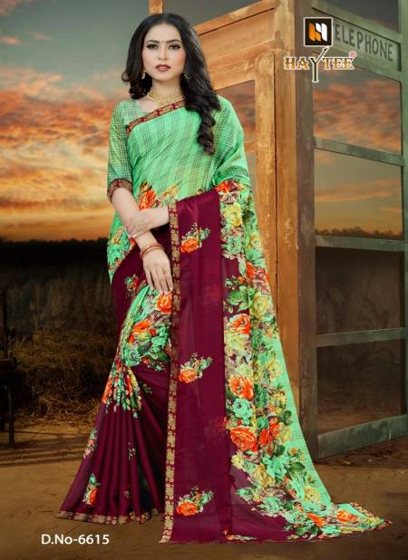Haytee Fuzzy 20 Latest Rennial Printed With Border daily wear Saree Collection