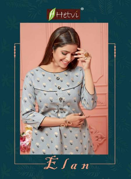 Hetvi Elan Latest Casual Wear Linen Printed Designer Kurtis Collection