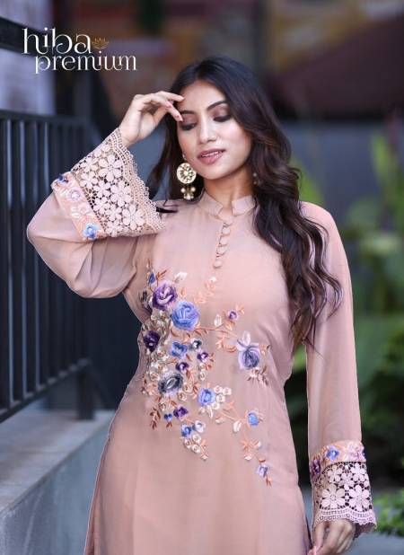 Hiba Premium Floral Latest Designer Festive Wear Collection Pure Georgette Kurti With Bottom Ready Made Suit