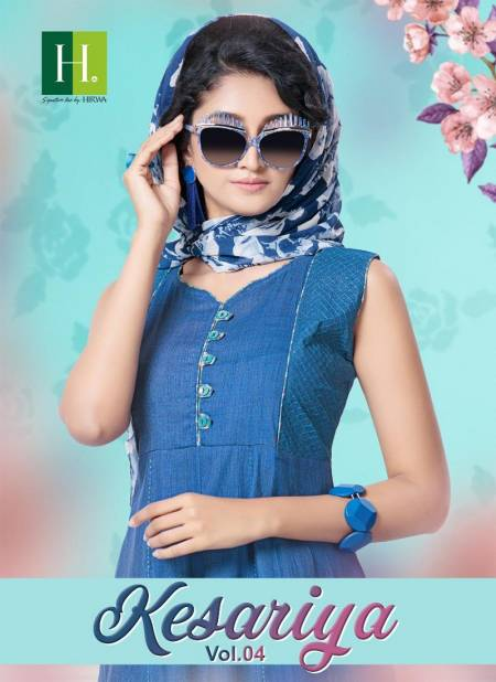 Hirwa Kesariya 4 Latest Designer Anarkali Style Casuaol Wear Rayon Kurtis Collection