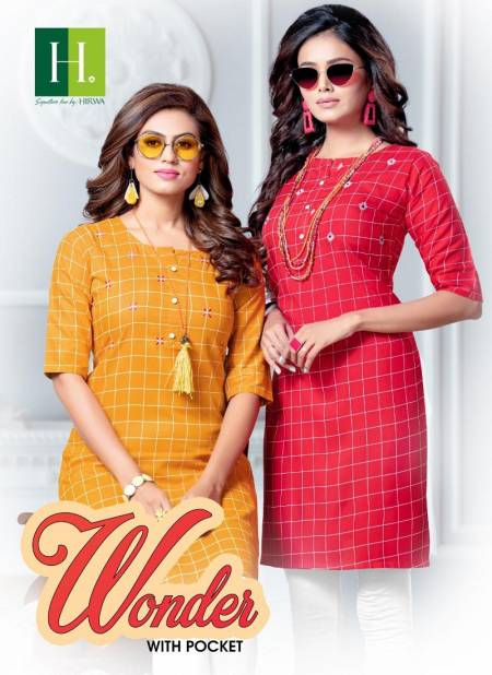 Hirwa Wonder Designer Exclusive Casual Wear Chex Rayon Kurti Collection