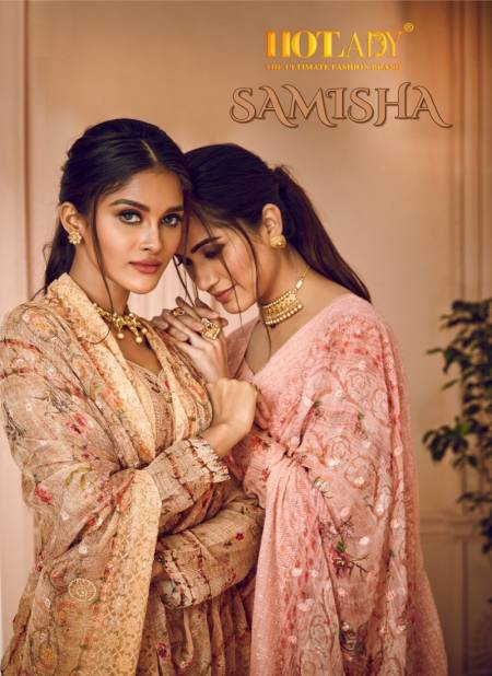 Hotlady Samisha 6151 Series Latest Heavy Embroidered Digital Printed With Silver Jari And Swariski Hand Work Designer Salwar Suits  Collection