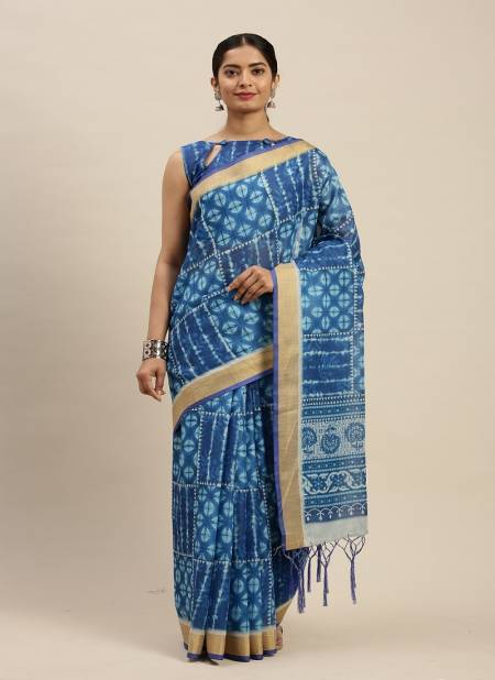 Indigo 1.1 Latest Fancy Designer Regular Casual Wear Linen Cotton Printed Saree Collection