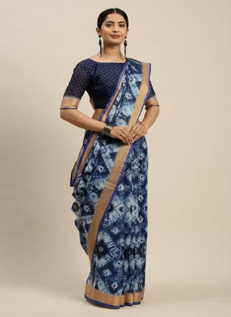 Indigo 1.2 Latest Fancy Designer Regular Casual Linen Cotton Printed Saree Collection