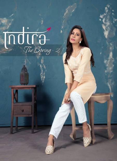 Indira The Spring 2 Latest fancy Regular Wear Embroidered Kurtis With Bottom Collection