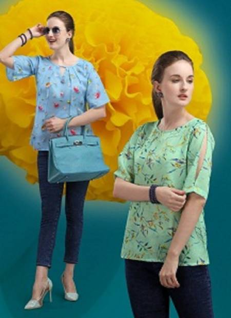 Jelite Marigold Latest Fancy Designer Casual Wear Western Cotton Digital Ladies Top Collection