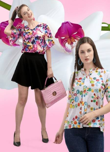 Jelite Orchid Crepe Western Latest Fancy Designer Casual Wear Western Cotton Digital Ladies Top Collection