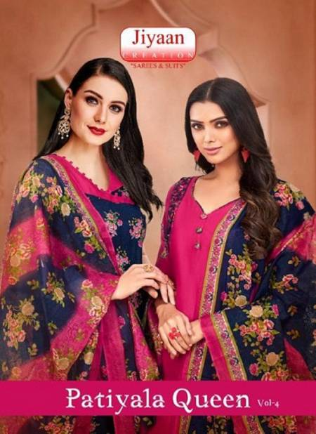 Jiyaan Patiyala Queen 4 Latest Fancy Designer Casual Wear Cotton Printed Patiala Dress Material Collection