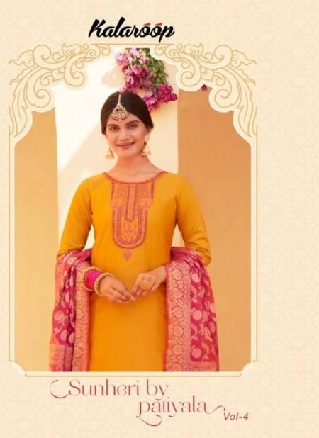 KAJREE SUNHERI PATIYALA VOL-4 Latest Fancy Designer Festive Wear Jam Silk with Embroidery Work And Khatli Work Readymade Salwar Suit Collection